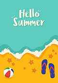 Summer time and happy holiday concept decorative with beach flat design style