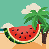 Summer time and happy holiday concept design template background decorative with beautiful beach