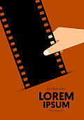 Movie and film poster design template background with vintage retro filmstrip