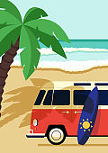 Summer time and happy holiday concept decorative with van on the beach flat design style