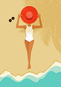 A women laying down on beautiful beach. Summer time and happy holiday concept flat design style