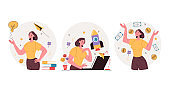 Business woman character creating and development new business project and get money. Fresh business idea development steps and stages. Vector flat graphic design illustration