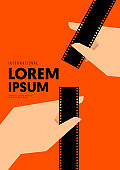 Movie and film poster design template background with vintage filmstrip