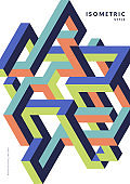 Abstract isometric geometric shape design template background modern art style