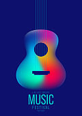 Music poster design template background decorative with colorful gradient guitar
