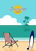Summer time and happy holiday concept design template background
