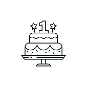 cake icon vector from kids concept. Thin line illustration of cake editable stroke. cake linear sign for use on web and mobile apps, logo, print media..