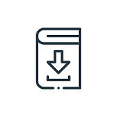 book icon vector from books concept. Thin line illustration of book editable stroke. book linear sign for use on web and mobile apps, logo, print media..