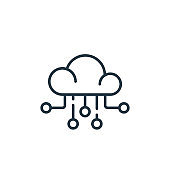 cloud icon vector from office concept. Thin line illustration of cloud editable stroke. cloud linear sign for use on web and mobile apps, logo, print media..