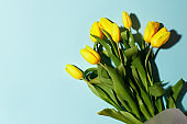 Yellow tulip flowers bouquet with hard shadow on blue background. Flat lay, copy space. Banner for seasonal holiday, springtime concept, International Woman day, 8 march, Happy Easter greeting card