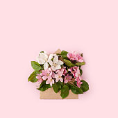 Flat-lay of paper craft envelope with white pink apple blossom flowers over pastel light pink background, top view. Spring or summer mood concept, 8 march woman day, Happy Easter card, copy space