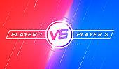 Vector illustration versus screen design. Flat modern battle template design for sport and games
