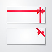 Gift card with red ribbon and a bow on white background. Voucher template for design invitation and credit or discount card. Vector Illustration.