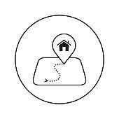 House on the map mark. Editable Thin line.