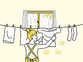 Dry the laundry smell illustration