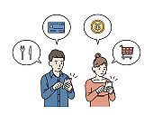 Smartphone shopping and settlement Marriage couple illustration