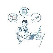 Doctor man use pc remote medical examination illustration