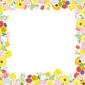 Spring flower frame illustration