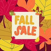 Autumn sale poster. Fall sale Template