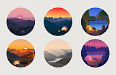 Collection of mountain and river camping landscapes in circle.