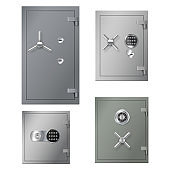 Set of realistic safes boxes with metal steel doors and lockers for banking storage and safety
