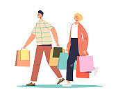 Happy family couple shopping. Young cartoon man and woman with shopping bags
