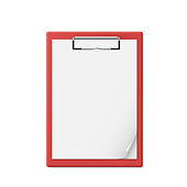 Red clipboard with a few sheets of paper. Realistic style. Notepad for documents