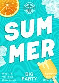 Bright and modern Summer party poster. Vector graphics