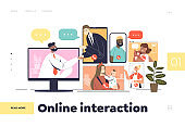 Online interaction concept of landing page with business people and families meeting via video calls