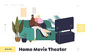 Home movie theater concept of landing page with couple watching horror movie on tv