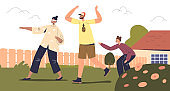 Happy family active leisure activity outdoors: parents and kid play blind man buff together