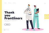 Covid frontliners landing page concept with doctor and nurse during coronavirus epidemic
