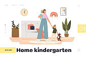 Home kindergarten concept of landing page with nanny babysitting small kids