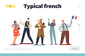 Typical french people stereotypes concept of landing page with cartoons and symbols of France
