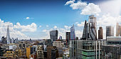Elevated view to the modern skyscrapers of the City of London
