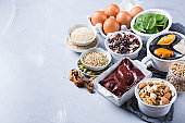 Foods high in iron, healthy dieting eating concept