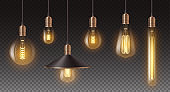 Realistic retro light bulbs set. Decorative vintage design edison lightbulbs of different shapes