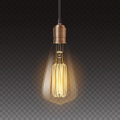 Realistic light bulbs. Vintage lamp hanging on wire glowing over dark background