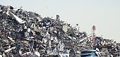 Industrial waste of metals and chimneys in industrial areas