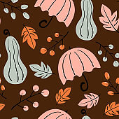 cute lovely autumn season seamless vector pattern background illustration with umbrellas, leaves, pumpkins and berries