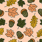 cute abstract fall seamless vector pattern background illustration with acorns and autumn leaves