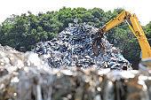 Stacked metal industrial waste