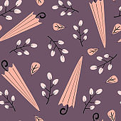 cute lovely autumn seamless vector pattern background illustration with umbrellas, leaves and berries