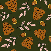cute lovely autumn seamless vector pattern background illustration with pine cone, fall leaves and acorns