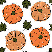 cute abstract fall seamless vector pattern background illustration with pumpkins and autumn leaves