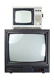 Two vintage televisions isolated on a white background.