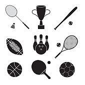 Vector set bundle of flat black sport equipment