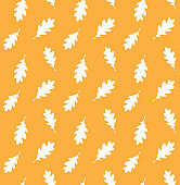 Vector seamless pattern of white hand drawn doodle sketch oak leaf