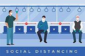 Social Distancing At Public Transport Illustration