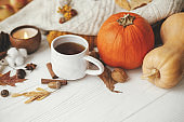 Warm cup of tea on background of autumn leaves, pumpkin, cozy sweaters, burning candle on white wood in stylish room. Hello autumn, cozy slow living. Happy Thanksgiving